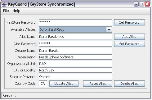 KeyGuard GUI in action.