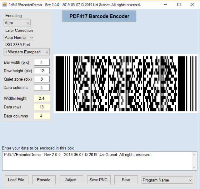 PDF417 Barcode Encoder Class Library and Demo App Ver  2 1