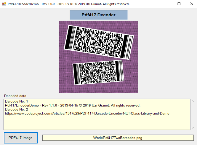PDF417 Barcode Decoder  NET Class Library and Two Demo Apps