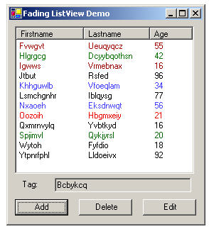Display updated list view items with fading color effects in a