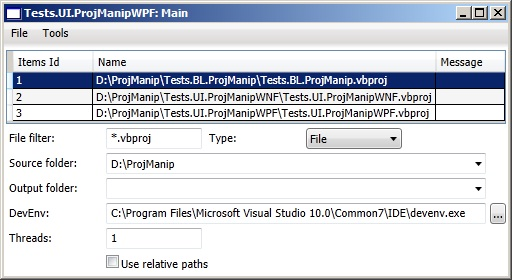 Main form of Tests.UI.ProjManipWPF project
