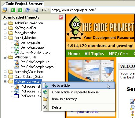 Downloaded Projects View
