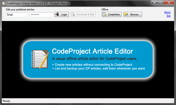 Codeproject article editor main window