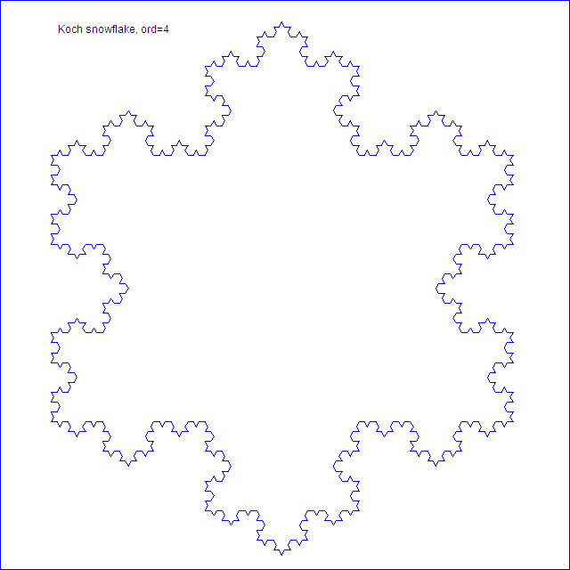 Koch snowflake fractal, order 4