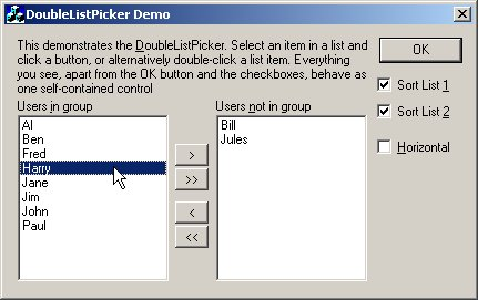 DoublelistPicker Demo