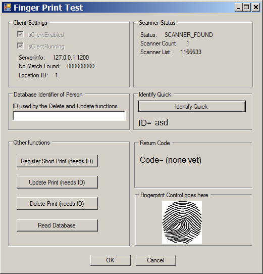 test fingerprint reader
