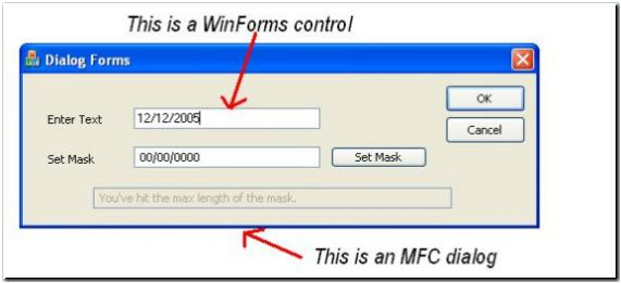 Using WinForms controls in an MFC dialog - CodeProject