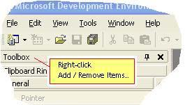 Right-click in the toolbox