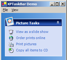 XPExplorerBar demo with Windows XP theme Forever Blue on Windows 2000
