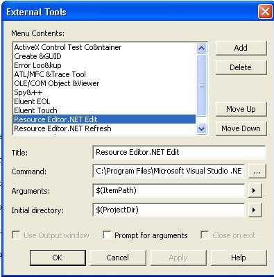 Adding External Tool Resource Editor.NET for Resource Editing