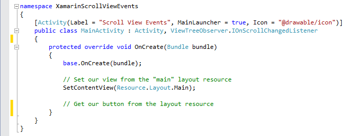 Xamarin Android: EventHandlers for ScrollView for Endless