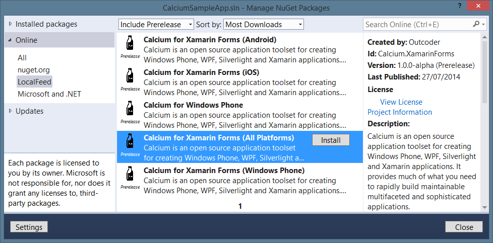 Select Calcium from the NuGet Manager