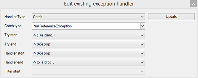 Edit exception handler