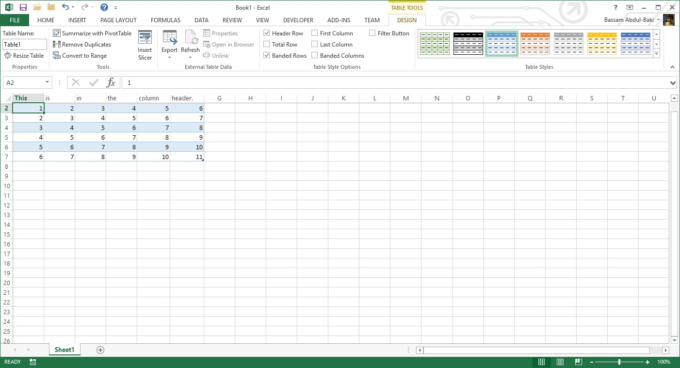 Excel Column Header