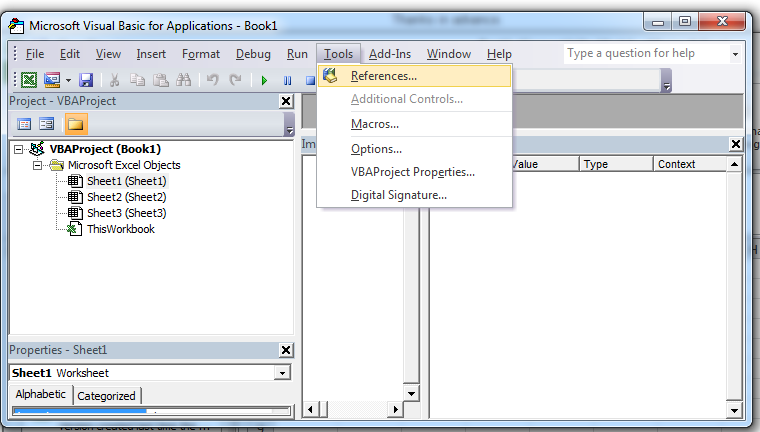 VBA Tools References