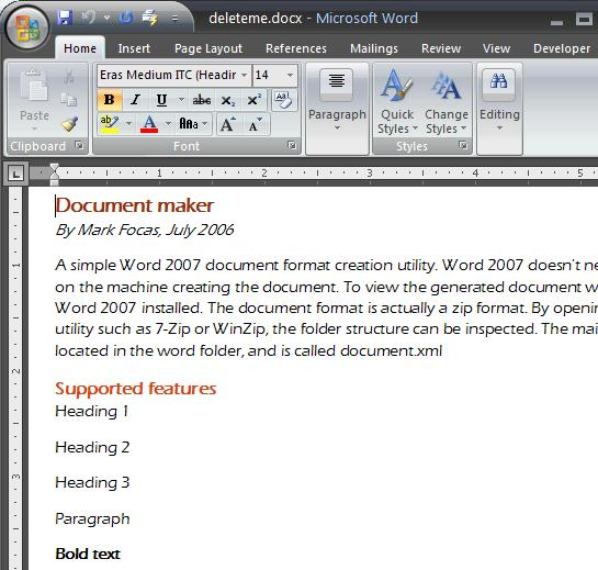 Resulting document displayed in Word 2007