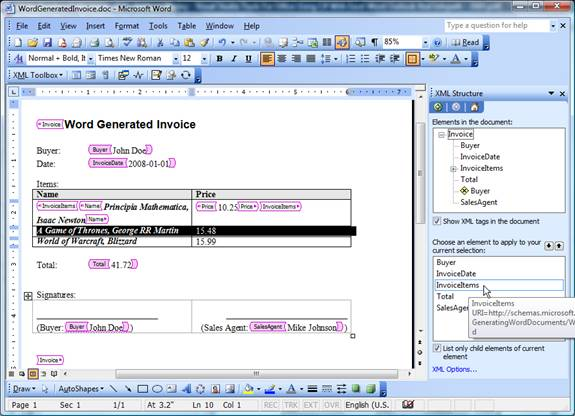 Figure 8 – Binding data from Word document to fields of XML schema
