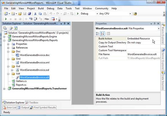 Figure 11 - XSL transform as part of VS.NET project for generating Word reports