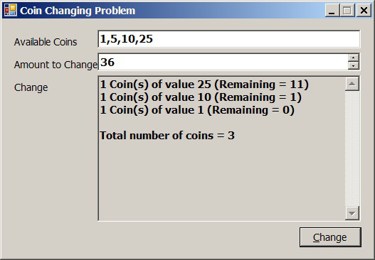 The Coin Changing Problem! - CodeProject