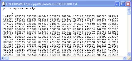 Calculate Pi To One Million Decimal Places Codeproject