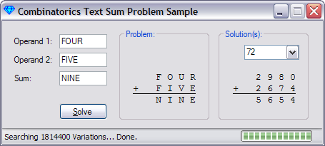 Combinatorics Sample Program Screenshot