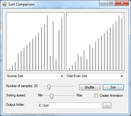 Visualization and comparison of sorting algorithms in C#