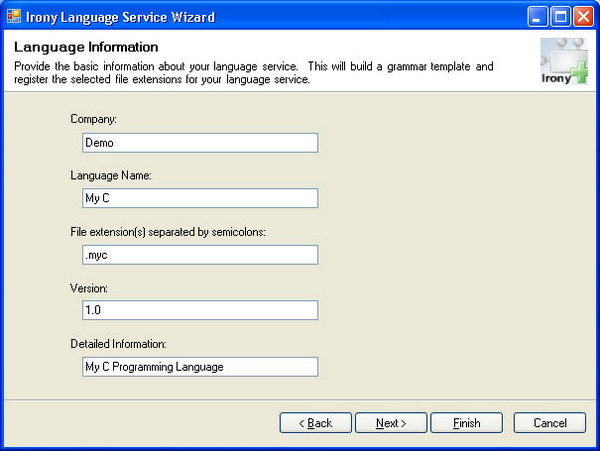 Irony Language Service Wizard - Language Information