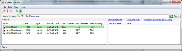 'Add DS Parameter/Use In Query' transaction successful from the RSExplorer++ tool