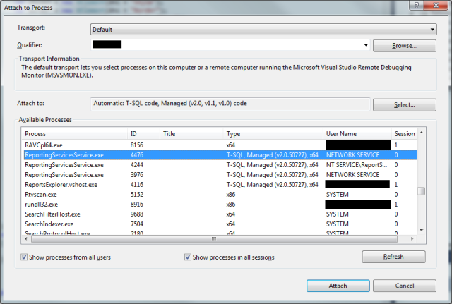 Attaching the Debugger to the ReportingServicesService.exe process to Debug it
