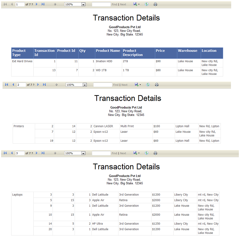Rdlc report grouping with page break table header repeat for Table header