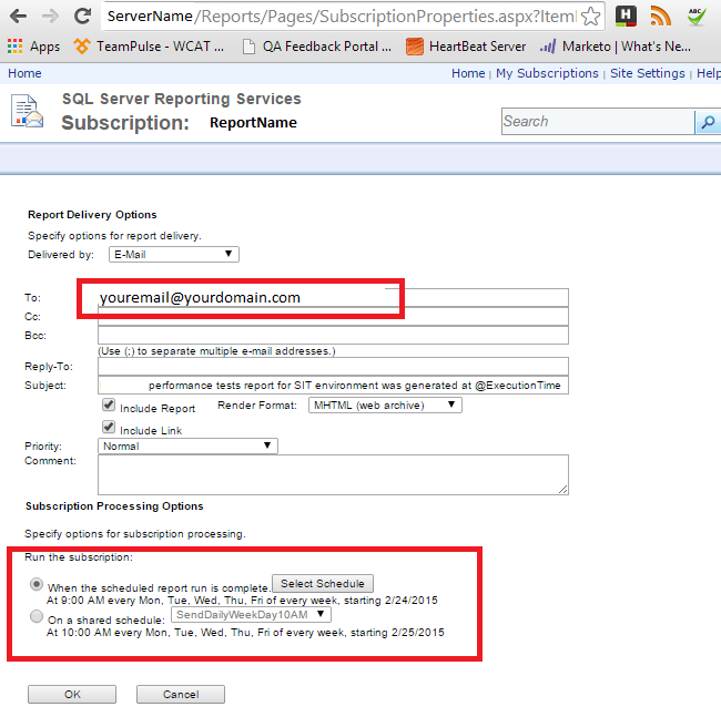 SSRS SQL Server Reporting Services- Subscriptions for