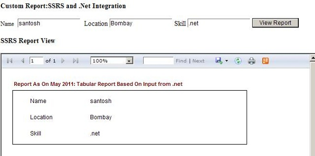 Integration of SSRS and  NET using Iframe and URL Command