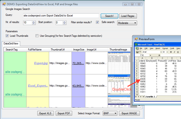 Exporting a DataGridView to an Excel/PDF/image file by using