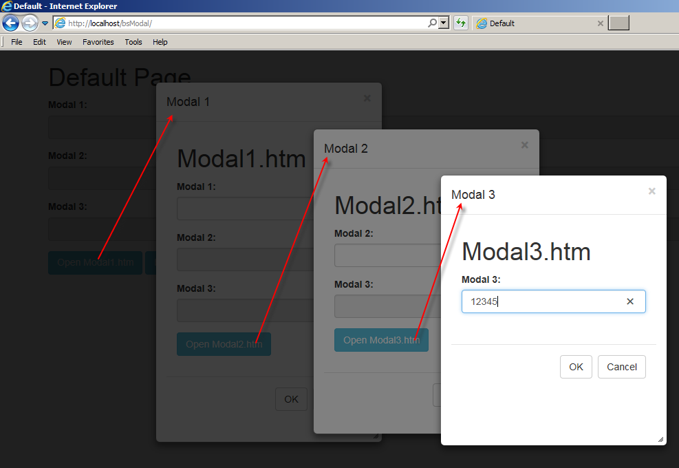 Resizable and Nested Modal Dialogs using jQuery UI and Bootstrap