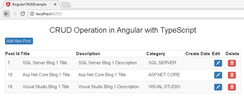 CRUD Operations in Angular with Typescript using ngx
