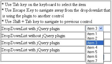 ASP NET Select Dropdownlist item using Tab key - CodeProject