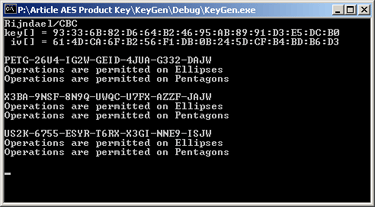 Product Keys Based on the Advanced Encryption Standard (AES