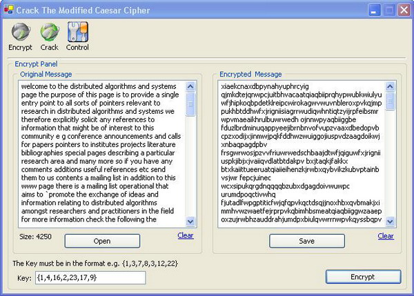 Crack the Modified Caesar Cipher with Relative Frequency