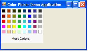 The OfficeColorPicker placed in a form