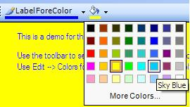The ComboBoxColorPicker placed in a form