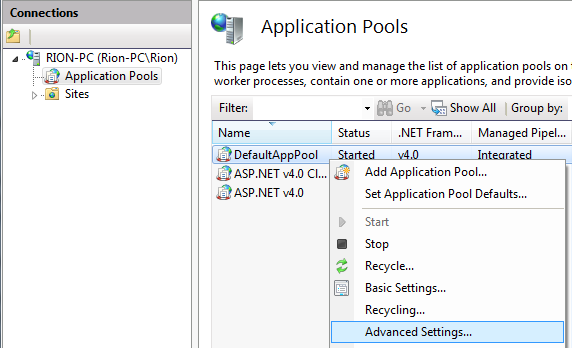 Select the Advanced Settings area for the Application that you want to use App Suspend with