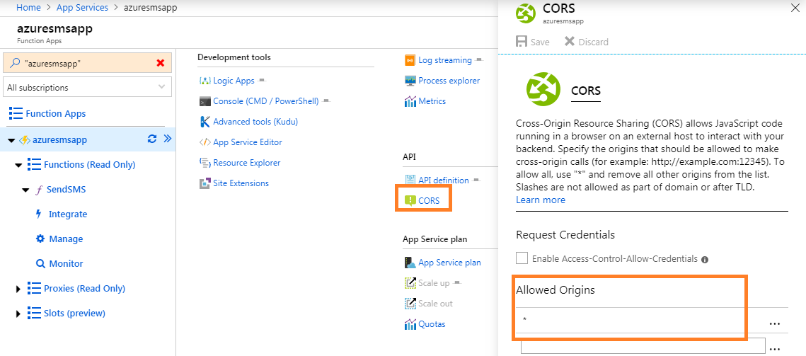 cors in Azure function - click to enlarge image