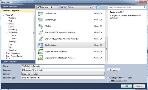 Sharepoint 2010 Creating A Site Definition Using Visual Studio