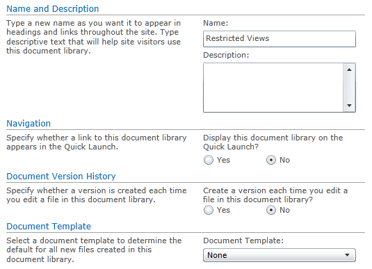 Creating restricted views document library