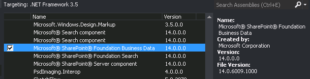 Business Data Library as seen in Visual Studio 2013