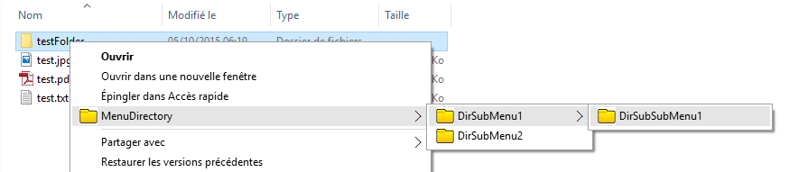 Snapshot of windows shell extension, whenthe selected item is a directory