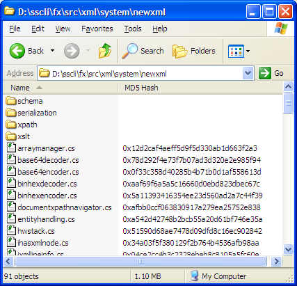 Windows Explorer showing an MD5 column handler shell extension