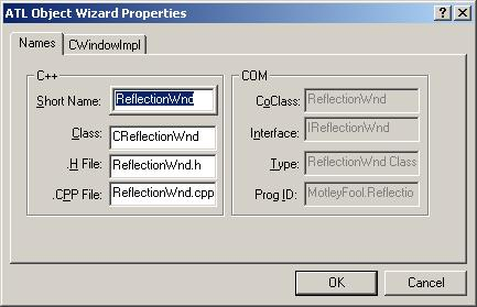 Figure 10. ATL Object Wizard Properties - Names.
