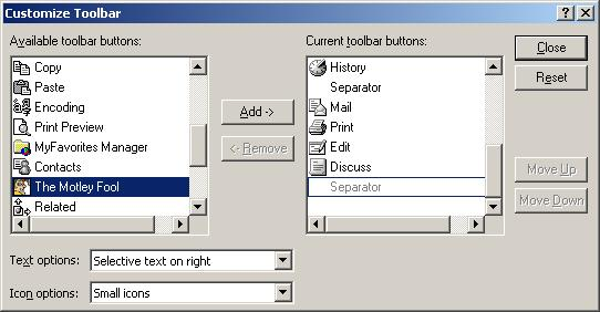 Figure 12. Customize Toolbar - Available Toolbar Buttons.