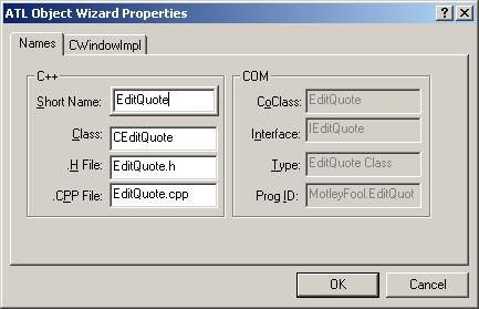 Figure 6. ATL Object Wizard Properties - Names.